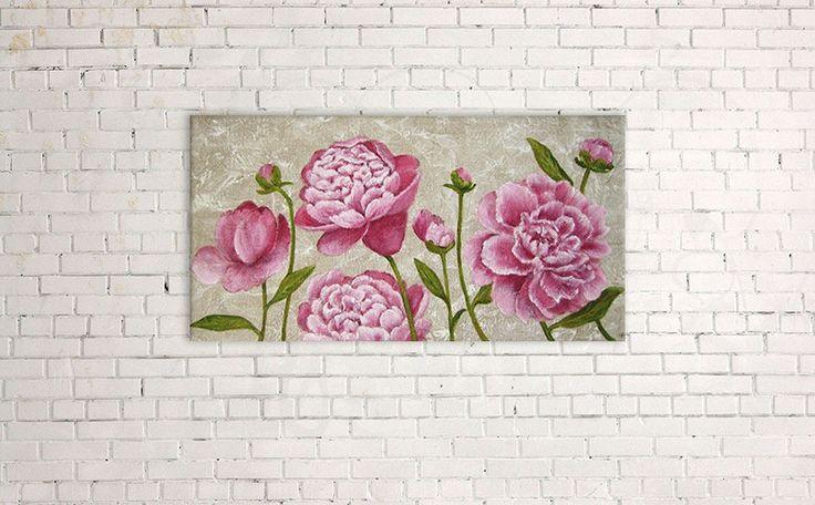 Tableau originale fleurs de pivoines