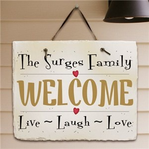 Personalized Family Slate Plaque | Personalized Housewarming Gift from GiftsForYouNow.com