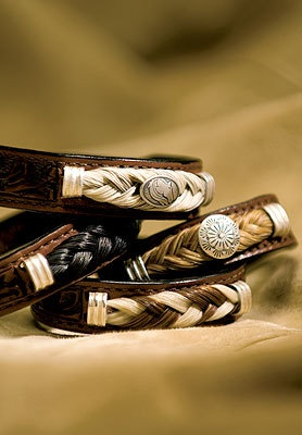 Unique Tooled Leather Bracelets Accented with Authentic Horse Hair - A Western look, via Etsy.