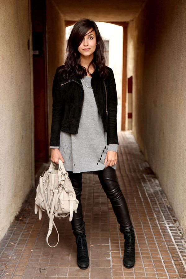 Jacket: Maje, Sweater: Vero Moda, Pants: Maje, Boots: Minelli, Bag: Alexander Wang