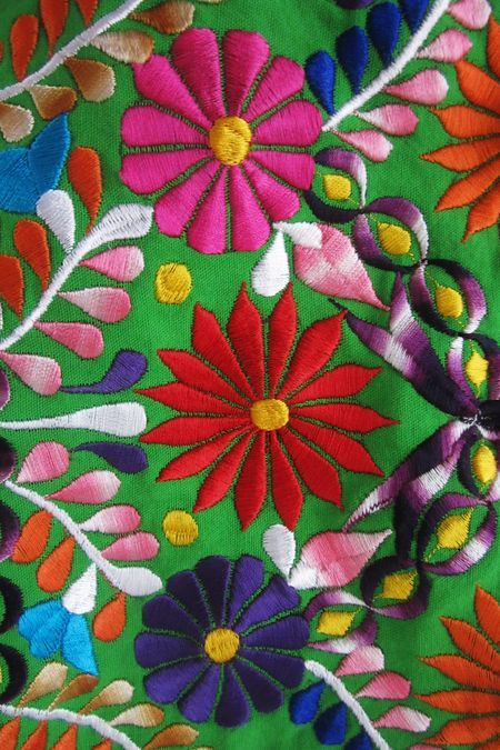 This is a portion of a embroidered dress from Oaxaca in Mexico. (by Gloria Maready)