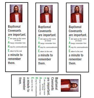 Sharing Time on the Sacrament! Baptismal Covenants bookmarks!! LDS