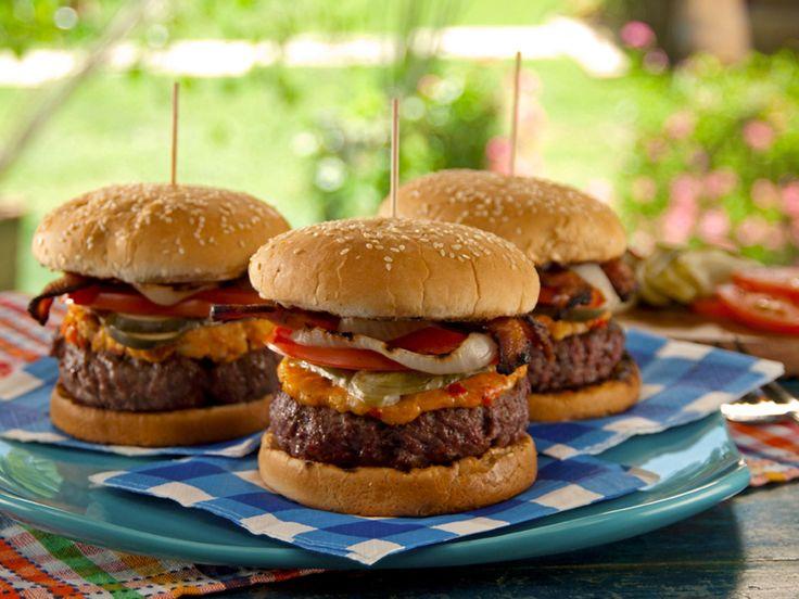 Pimiento Cheese-Bacon Burger recipe from Bobby Flay via Food Network