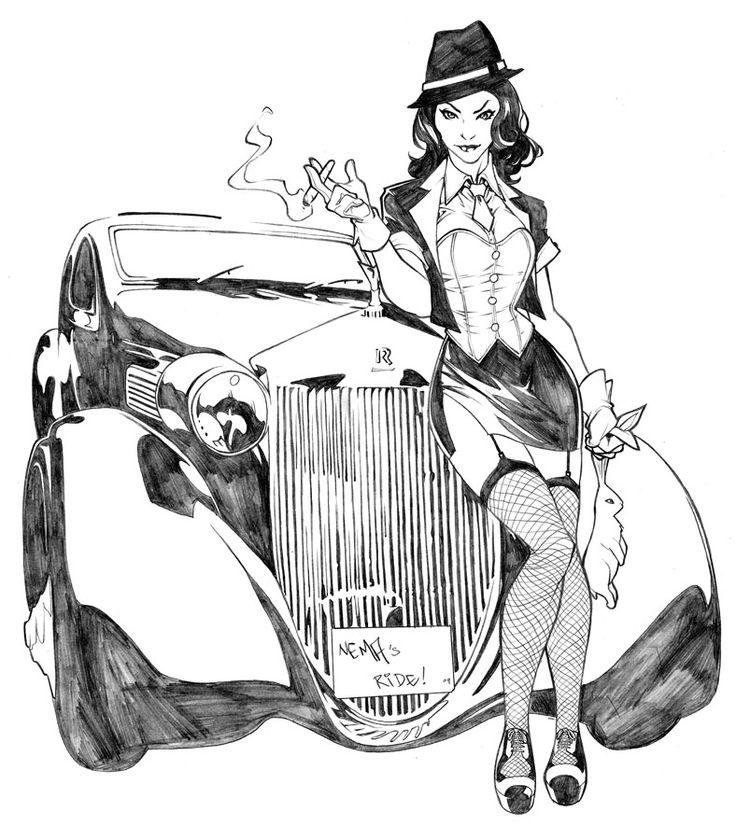 Cool Drawing of Gangsta Cartoons | gangster girl drawing