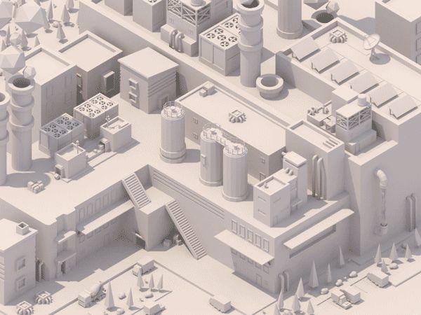 ArtStation - Low Poly Isometric Factory #1, Alex Safayan