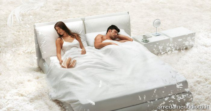 Letto matrimoniale in ecopelle con contenitore Malou - DIOTTI A&F Arredamenti