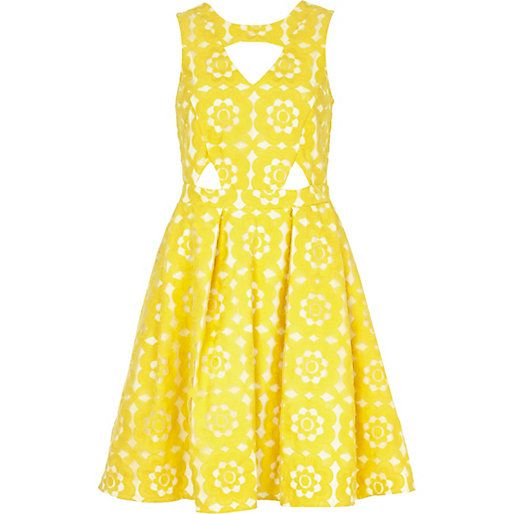 Yellow embroidered cut out prom dress #riverisland