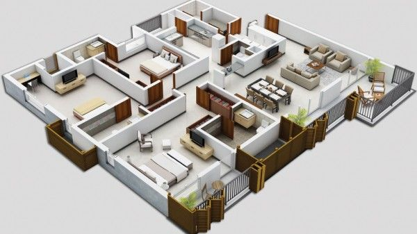 In another option from KSV developers, the same square footage is shuffled around but massive bedrooms and private patios with folding shades remain.
