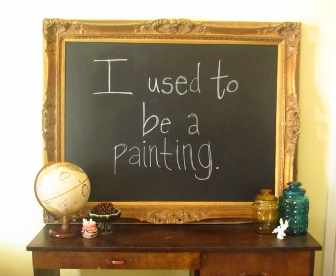 Framed chalkboard - Chalkboard paint on an old painting. Perfect for all the terrible paintings in great frames you can find at thrift stores