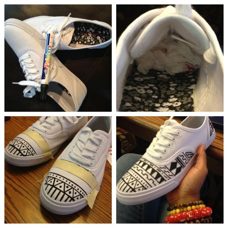 I saw a pair of black and white Aztec Vans online for $55 - I decided to make my own - price $12!!   Here's how:   1. Supplies: all white target brand sneaker and black paint pen  2. Stuff your shoes with shopping bags  3. Use tape to outline your designs  4. Get creative and ENJOY!!