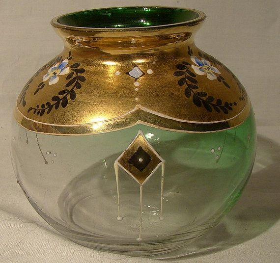 AUSTRO-HUNGARIAN Green Glass VASE with Fine Enamel & Gilding