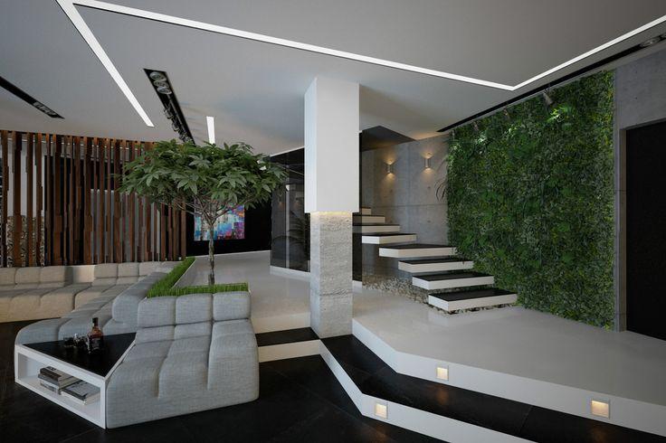 Гостиная в частном доме - Вертикальное озеленение интерьера (3D) | PINWIN - конкурсы для архитекторов, дизайнеров, декораторов