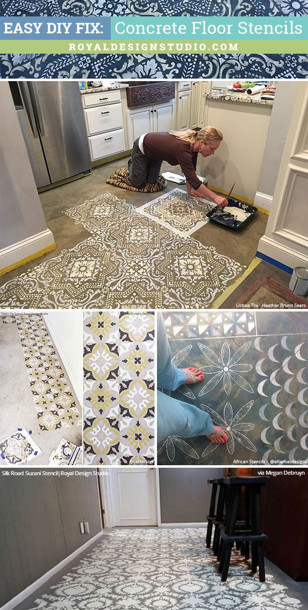 Does your worn or damaged floor need remodeling? Don't refinish but instead use this easy DIY fix: concrete floor stencils from Royal Design Studio!