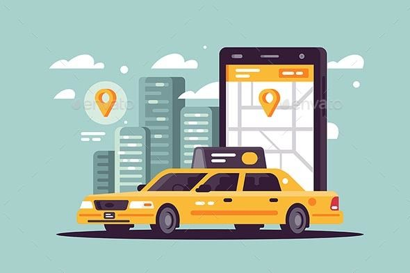 Modern Taxi Call Using Smartphone And Online Taxi Modern Call