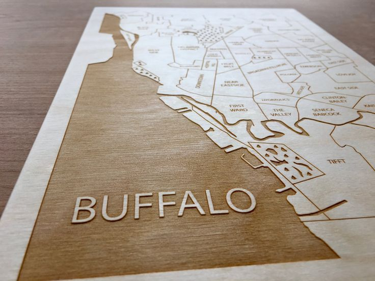 Buffalo, NY engraved wood neighborhood map by Etched Atlas.