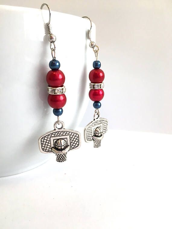 BASKETBALL FANS  Detroit PISTONS Handcrafted Earrings