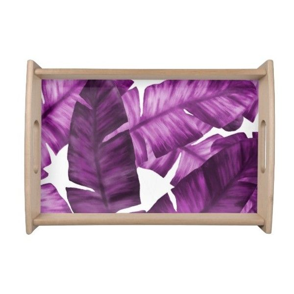 Pink Tropical Banana Leaves Pattern Serving Tray (59 CAD) ❤ liked on Polyvore featuring home, kitchen & dining, serveware, decor and pink serving tray