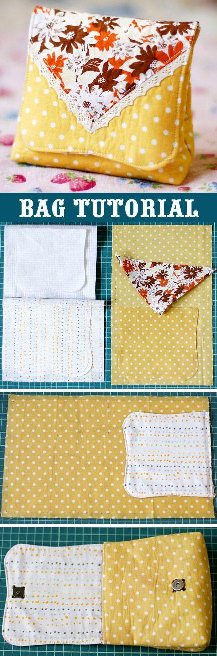 Small Handbag DIY Tutorial in Pictures.  http://www.handmadiya.com/2015/10/small-hand-bag-tutorial.html