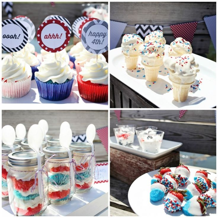 4th of July Ideas: Picnic by the Lake. Cupcakes, ice cream, cake in a jar and dipped strawberries made this dessert table a hit! #4thofJuly
