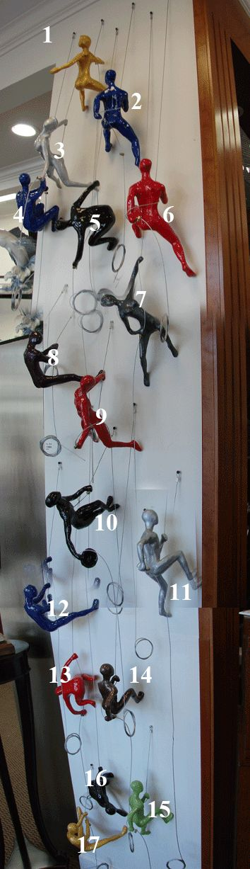 Wall of Colorful Climbing Men Sculptures | 1-888-264-4887 | Metro Detroit Art Gallery
