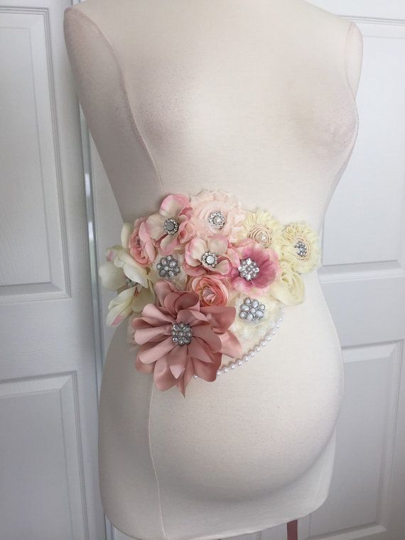 3 in 1 Vintage Pink Ivory Maternity Sash- Bridal Sash- Baby Shower Sash- Belly Belt- Basket Decor- Maternity photo props- Senior photo- Baby