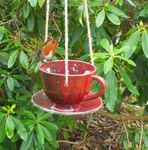 Bird Feeder In Stoneware By Caractacus Pots.  This could easily be made from thrift shop treasures or even your old tea cups!!