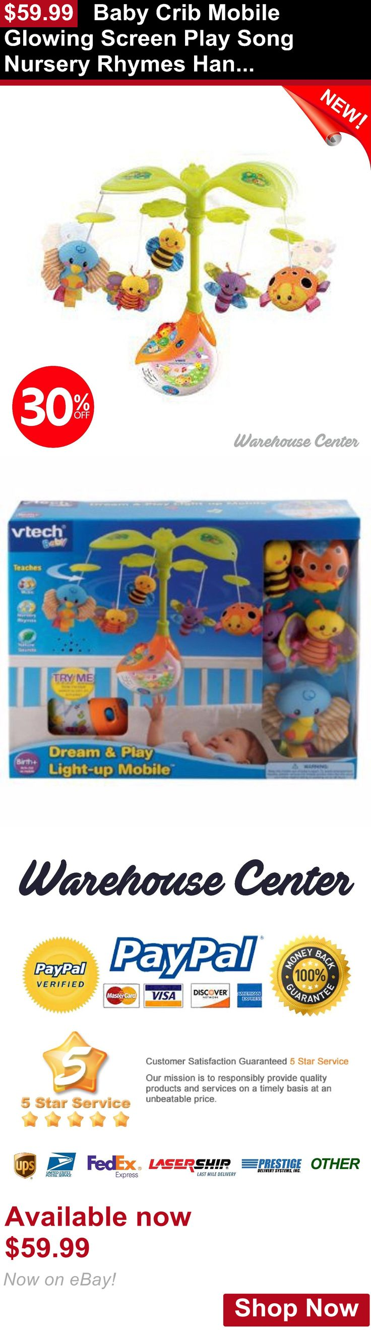 Crib Toys: Baby Crib Mobile Glowing Screen Play Song Nursery Rhymes Hang Swing Stroller Toy BUY IT NOW ONLY: $59.99