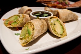 21/2 avocados, 4oz cream cheese, sun dried tomatoes, pine nuts, cilantro, red onion, pot sticker sauce! GREAT!