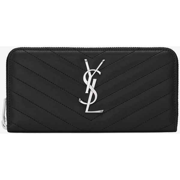 Monogram Saint Laurent Zip Around Wallet In Black Matelassé Leather ($745) ❤ liked on Polyvore featuring bags, wallets, black, black zip around wallet, black leather bag, stitch wallet, wallet and black bag