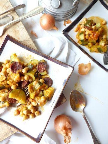 Pois chiches et courgettes sautés au chorizo sans gluten