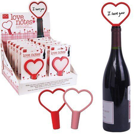 DCI Love Notes Re-Usable Write-On Bottle Stoppers, Assorted Pink and Red by Decor Craft Inc / DCI. Write notes about wine or date bottle was opened. Available in red or pink Made of silicone. Double sided. Reusable write on bottle stopper. Write on your heart shaped Love Notes to keep track of your favorite bottles of wine. Also works great to keep track of date bottle was opened.  www.geminioctopus.com