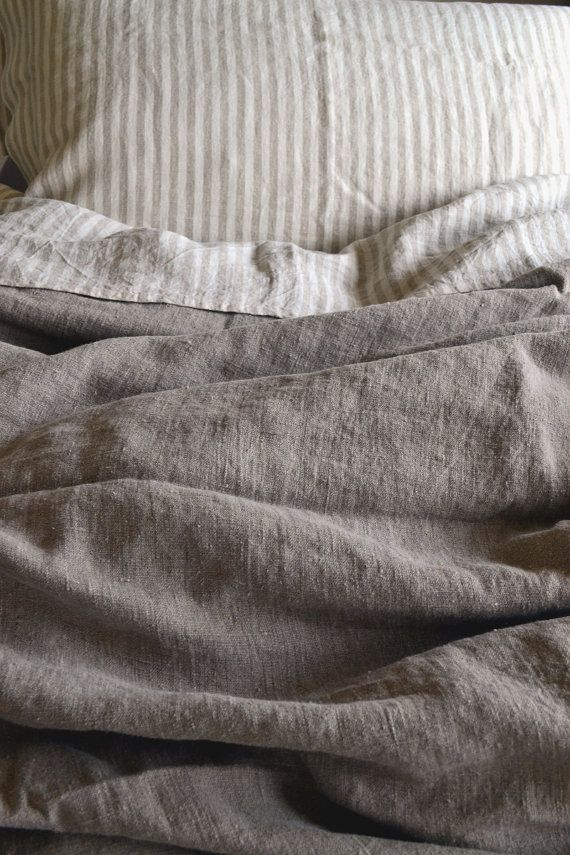 Bedding And Linens Part - 35: Natural Rustic Rough Heavy Weight Linen Duvet Cover / All Sizes. Natural  Flax Colour.