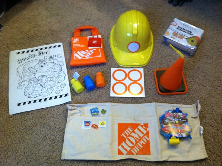 I used the orange reusable tote bags as favor bags .99 each at home depot. inside is the .77 toolbelt with .25 bubbles and a free birdhouse kit that home depot gave us left over from their kids clinic and i put a few stickers and blow its from the $ store. also hats i ordered online $1 each and cone cups I also ordered for $2 each. The name tag stickers i got in a pack of 16 at party city for .59cents.and free online coloring sheets =awesome favor bags for about $5 each with usable fun…