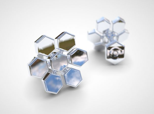 Concave Hexagon Cufflinks 3d printed