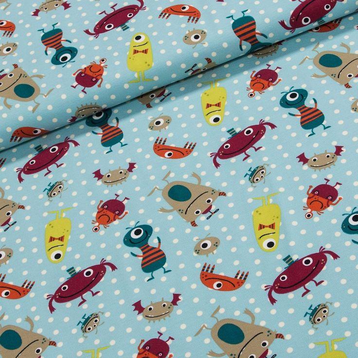 Bavlněný úplet LITTLE DARLING 126.387-3002 příšerky na modré, š.150cm (látka v metráži) | Internetový obchod Chci Látky.cz
