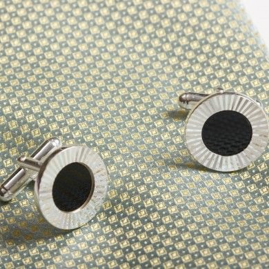 Ridge Round #SilverCufflinks - Pair of sterling silver cufflinks make for a great silver #anniversarygiftidea.
