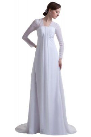 wedding dresses for women over 50 george new designer sleeves chiffon 9348