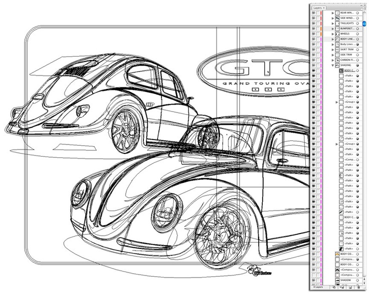vw bug outlines by