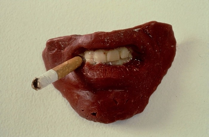 Sarah Lucas (b. 1962) Where Does It All End? wax and cigarette 2½ x 3¾ x 2½in. (5.5 x 10.5 x 5cm.)