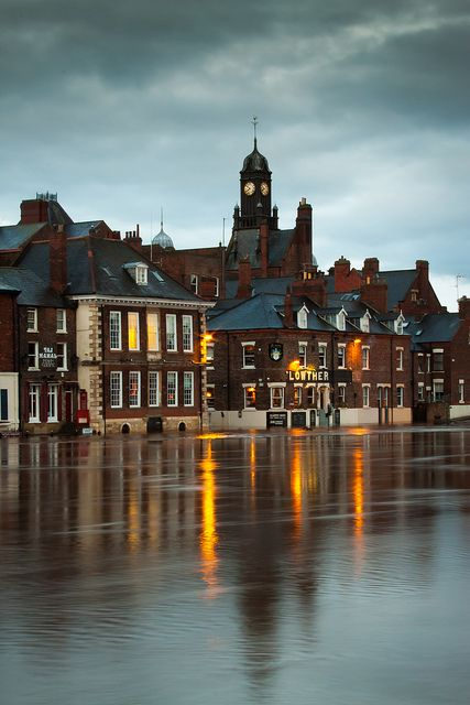 York City Flood. Swollen River Ouse flooding nearby pubs. England