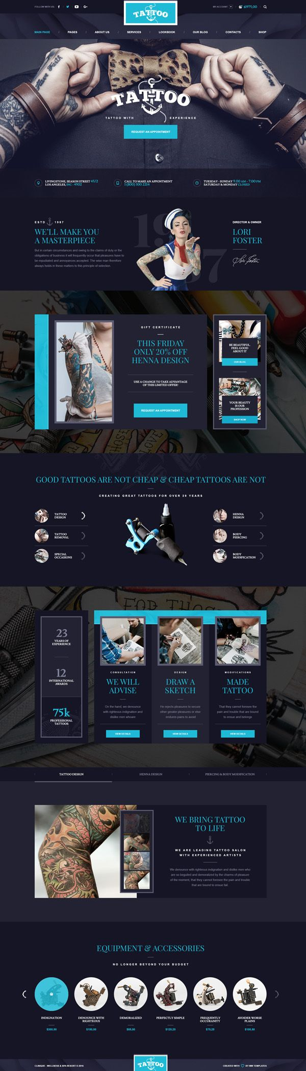 Ink Arts - Tattoo Salon PSD Template #psdtemplates #websitetemplates #webdesign