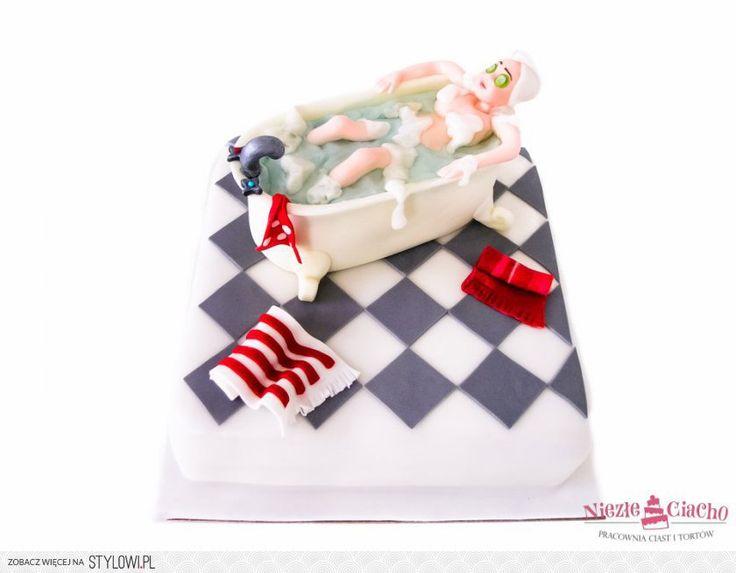 Wanna, kąpiel, domowe SPA, relaks, tort w kształcie wanny, śmieszne torty, Tarnów