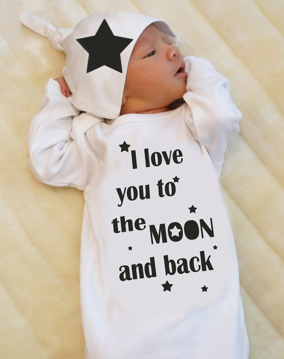 Newborn Take Home Outfit for Baby Boy or Baby Girl, I love you to the Moon and back, Newborn Gown, Unisex Baby Clothes