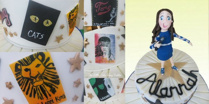 A theatrical Confirmation Cake for a girl who loves singing and dancing. All musical posters are handpainted  www.littlecakefairydublin.com www.facebook.com/littlecakefairydublin