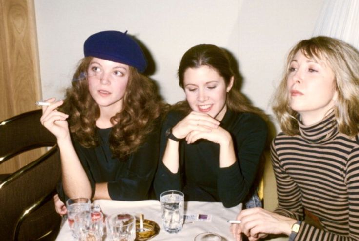 Amy Irving, Carrie Fisher, and Teri Garr photographed by Ron Galella at the Thankgiving Party at Sibils in NYC on November 21st, 1977
