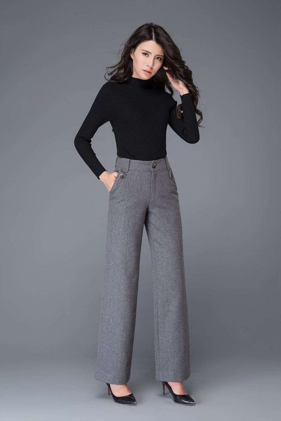 gray wool pants high waisted pants maxi pants wool