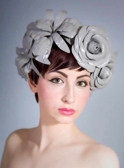 Grey patent leather flower headband   William Chambers Millinery   Spring/Summer 2011