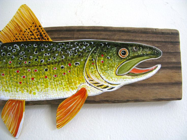 Brown Trout Acrylic Painting On Driftwood
