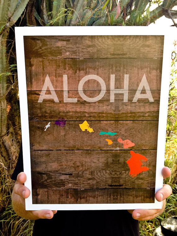 Original design with ALOHA graphic of the Hawaiian islands. Print can be used to display on your walls, makes a great souvenir, or gift for