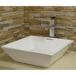 Square Vitreous-China White Vessel Sink | Overstock.com Shopping - Great Deals on Bathroom Sinks
